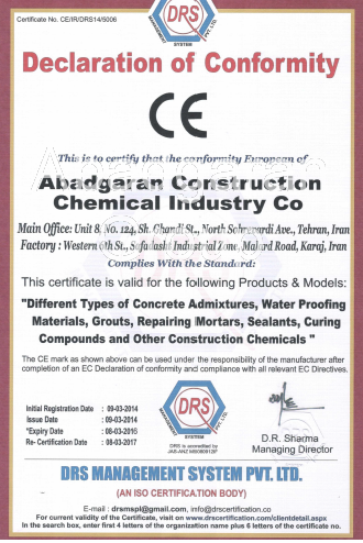 Extension of Certificate CE of Abadgaran Chemical Industries Company